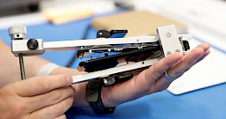 a tool used to separate the display from the body of an iphone is seen at apples display repair laboratory in sunnyvale cali